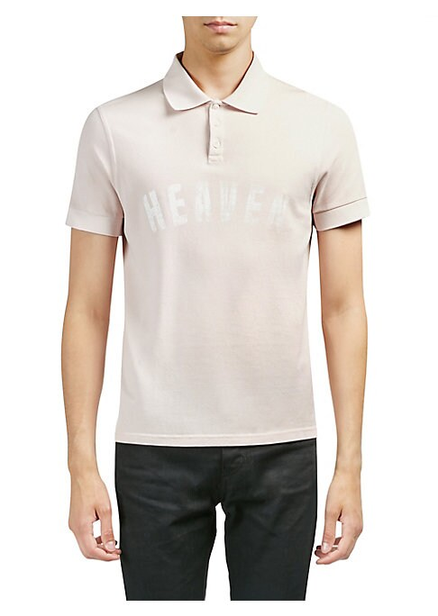 """Image of Classic cotton polo with printed text on front. Polo collar. Short sleeves. Three-button placket. About 28"""" from shoulder to hem. Cotton. Dry clean. Made in Italy."""