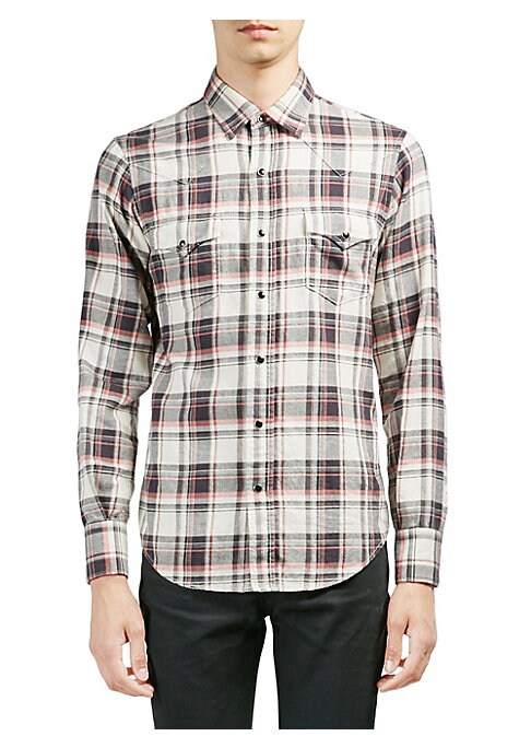 Image of From the Saks IT LIST. MAD FOR PLAID. See the traditional check in dozens of new ways. Cotton-blend button-down shirt with allover pattern. Point collar. Long sleeves. Snap barrel cuffs. Front snap closure. Chest snap flap pockets. Back yoke. Shirttail he