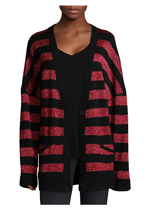 "Image of Oversized cashmere cardigan with stripe allover. Deep V-neck. Dropped shoulders. Long sleeves. Rib-knit cuffs and hem. Button front. Waist welt pockets. About 29"" from shoulder to hem. Cashmere. Dry clean. Imported. Model shown is 5'10"" (177cm) wearing si"