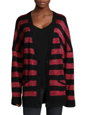 """Image of Striped oversized cashmere cardigan. Deep V-neck. Dropped shoulders. Long sleeves. Rib-knit cuffs and hem. Button front. Waist welt pockets. About 29"""" from shoulder to hem. Cashmere. Dry clean. Imported. Model shown is 5'10"""" (177cm) wearing size Small."""