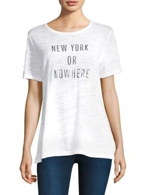 KNOWLITA New York Or Nowhere Cotton Graphic Tee in White Silver