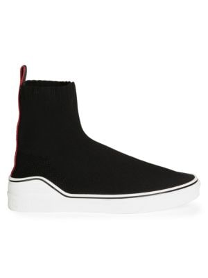 George V Logo-Jacquard Stretch-Knit High-Top Slip-On Sneakers, Black White