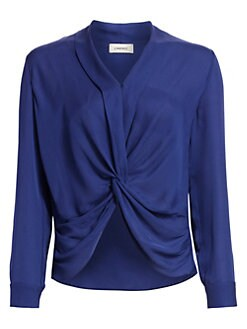 8b1d8df856a538 Mariposa Plunge Silk Blouse SEA BLUE. QUICK VIEW. Product image