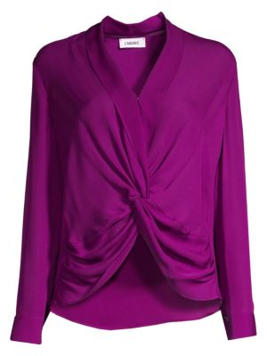 L'agence Tops Mariposa Plunge Silk Blouse