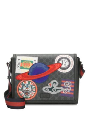 Men'S Supreme Gg Canvas Messenger Bag With Planet Patches in Black