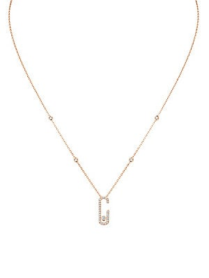 fbad09f8b4c744 Messika - Messika By Gigi Hadid Move Addiction 18K Pink Gold & Diamond Pavé Pendant  Necklace
