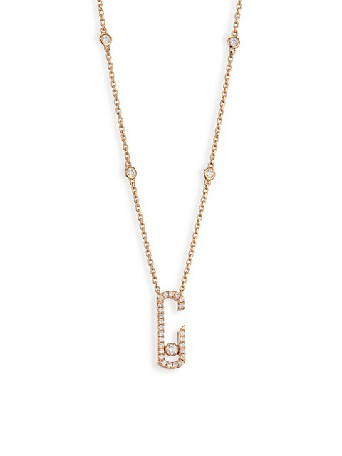 Messika By Gigi Hadid Move Addiction 18K Rose Gold & Diamond Pavé Pendant Necklace