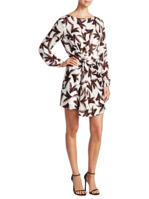 Freja Twist-Front Printed Silk Dress in Multi