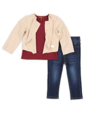 Image of Three-piece cotton-blend set that includes an open front cardigan, V-neck tee and skinny jeans. Cotton/polyester/spandex. Machine wash. Imported. Cardigan. Draped collar. Open front. Long sleeves. Tee.V-neck. Short sleeves. Jeans. Belt loops. Elasticized