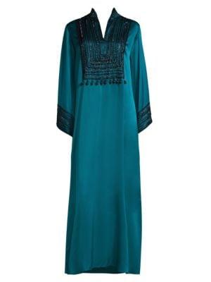 JOSIE NATORI COUTURE Divinity Mandarin Silk Sleepshirt in Blue Lagoon
