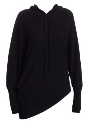 TSE X SFA Asymmetric Cashmere Hoodie in Black