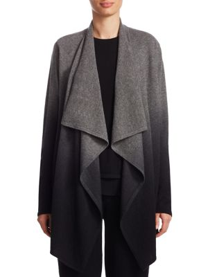 """Image of Draped open-front cardigan in lavish cashmere. Shawl collar. Long sleeves. Open front. About 26"""" from shoulder to hem. Cashmere. Dry clean. Imported. Model shown is 5'10"""" (177cm) and wearing US size Small."""