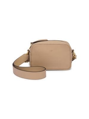 Camera Case Leather Shoulder Bag in Neutrals