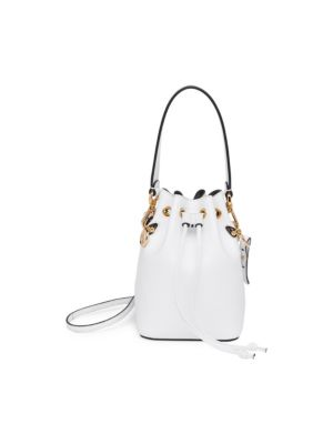 Leather Bucket Bag W/Crossbody Strap in White