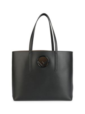 Logo Shopper Leather Tote Bag - Black