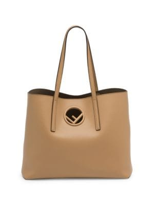 F Logo Calf Leather Shopping Tote Bag, Taupe