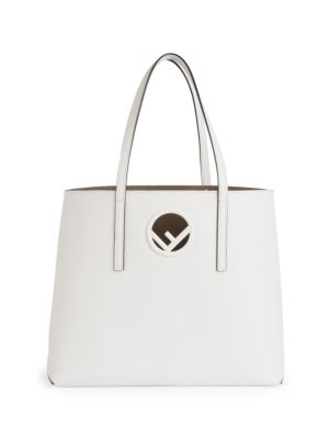 Logo Shopper Leather Tote Bag - White