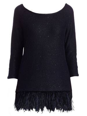TSE X SFA Feather-Trim Cashmere Sweater in Navy