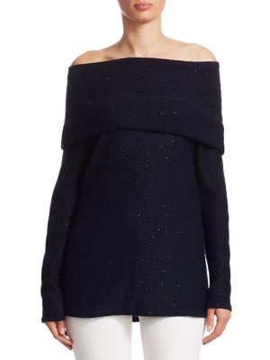 """Image of EXCLUSIVELY AT SAKS FIFTH AVENUE. Chic cashmere sweater with sequin accents. Off-the-shoulder neckline. Long sleeves. Pullover style. About 26"""" from shoulder to hem. Cashmere. Dry clean. Imported. Model shown is 5'10"""" (177cm) wearing size Small."""