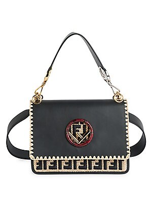 ba4fd7d7f3bb Fendi - Kan I F Leather Shoulder Bag With Raffia Embroidery and Trimmings -  saks.com