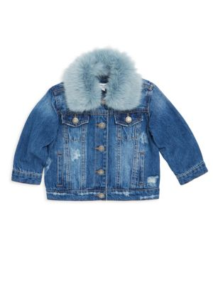 Baby Girls Faux Fur Collared Denim Jacket