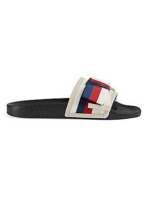 2437adf1807 Gucci - Pursuit Satin Slides With Web Bow - saks.com