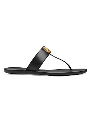 b0b01c9eb472 Gucci - Marmont Leather Thong Sandals With Double G - saks.com