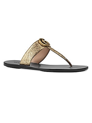 a72b5563fd37 Gucci - Marmont Leather Thong Sandals With Double G - saks.com