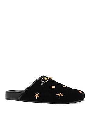 908aae990593 Gucci - Embroidered Velvet Horsebit Slippers - saks.com