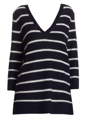 """Image of EXCLUSIVELY AT SAKS FIFTH AVENUE. Striped cashmere pullover with sequin accents.V-neck. Long sleeves. Pullover style. About 27"""" from shoulder to hem. Cashmere. Dry clean. Imported. Model shown is 5'10"""" (177cm) wearing size Small."""