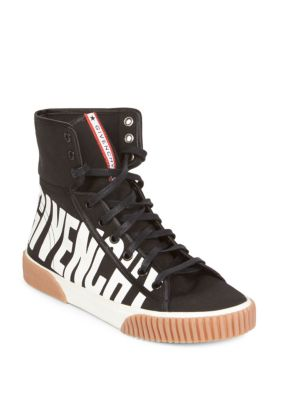 Black Logo-Print Canvas Hi-Top Trainers, Black-White
