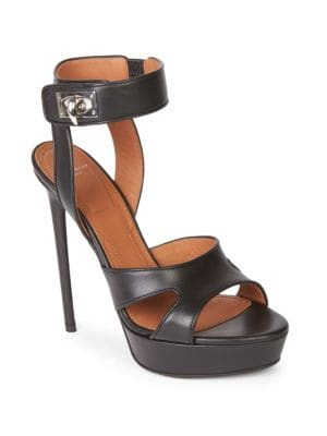 Shark Lock Cutout Leather Platform Sandals in Black from Savannahs