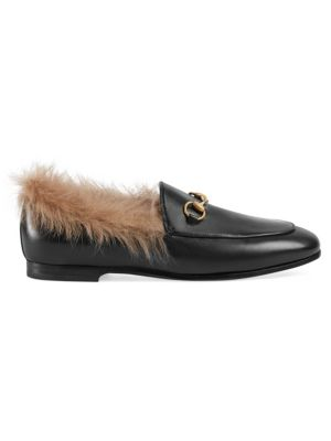 Women'S Jordaan Leather & Lamb Fur Loafers, Black