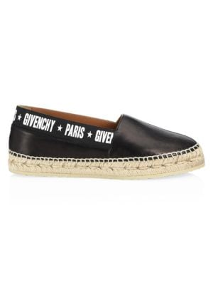 20Mm Capri Logo Band Leather Espadrilles, Black