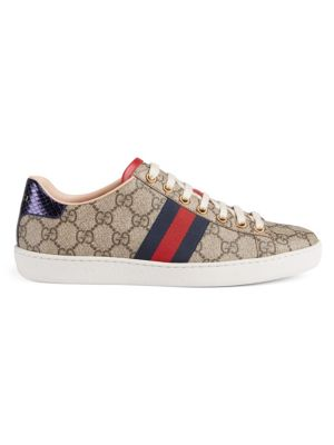 Ace Gg Supreme Metallic Watersnake-Trimmed Logo-Print Coated-Canvas Sneakers, Beige