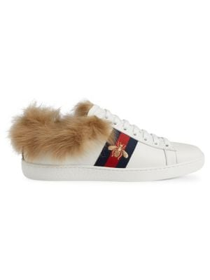 Women'S New Ace Leather & Lamb Fur Low Top Lace Up Sneakers in White