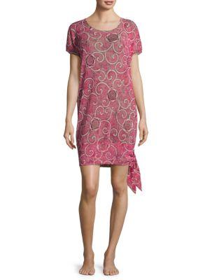 FUZZI SWIM Printed Short-Sleeve Coverup in Pink Lima