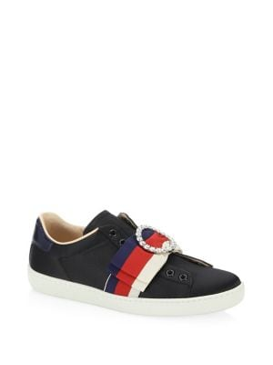Women'S New Ace Bow Low Top Satin Sneakers, Black