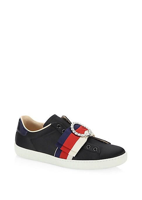 Image of Striking multicolor leather sneakers in metallic detail. Satin upper. Textile lining. Sylvie Web bow with crystal buckle. Metallic leather detail on the back of one shoe. Blue metallic leather detail on the back of the other shoe. Slip-on. Rubber sole. Ma