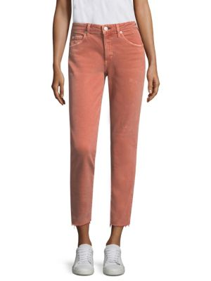 """Image of Cropped skinny jeans in distressed finish. Belt loops. Front zip-fly with button closure. Five-pocket style. Rise, about 11"""".Inseam, about 27"""".Cotton/elastane. Dry clean. Made in USA. Model shown is 5'10"""" (177cm) and wearing US size 4."""