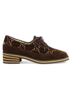 Women'S Thomson Suede & Velvet Lace Up Oxfords, Gold