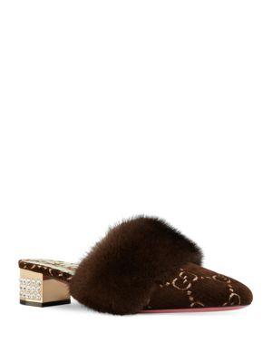 Women'S Candy Velvet & Mink Fur Embellished Mules, Brown