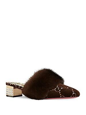 29860231c443 Gucci - GG Velvet Mink Fur Slides - saks.com