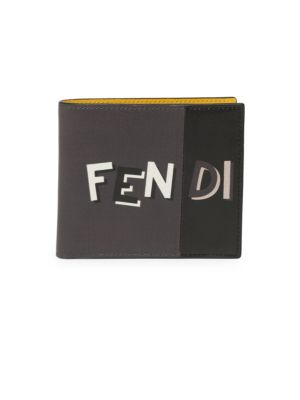 FENDI Shadow Logo-Print Bi-Fold Leather Wallet, Asphalt