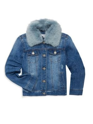Toddlers Little Girls  Girls Faux Fur Collar Denim Jacket