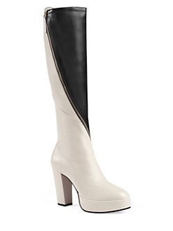 9acd857ef75 Gucci Leather Platform Knee Boots