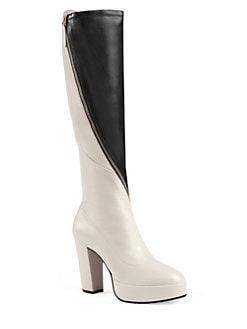 ff27e79e42a Gucci Leather Platform Knee Boots
