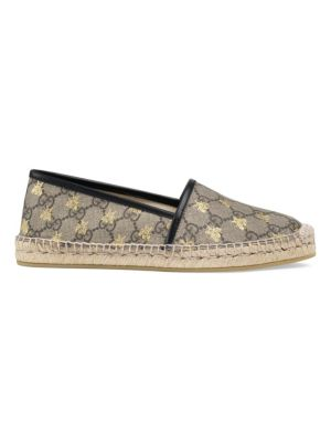 Leather-Trimmed Printed Coated-Canvas Espadrilles, Beige
