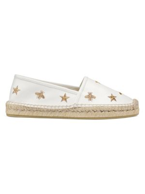 White Embroidered Leather Espadrilles
