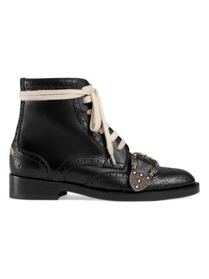 Women'S Queercore Leather Buckled Lace Up Booties, Black